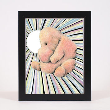 "Pen and ink illustration with colored pencil surreal and abstract nursery kid art  8x10 Limited Edition Print ""Happiness"""