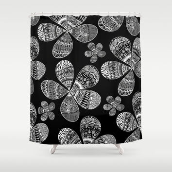 Storied Flowers (black & white) Shower Curtain by Sandra Arduini | Society6