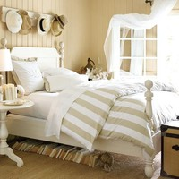 PB Classic Stripe 400-Thread-Count Duvet Cover & Sham - Sandalwood