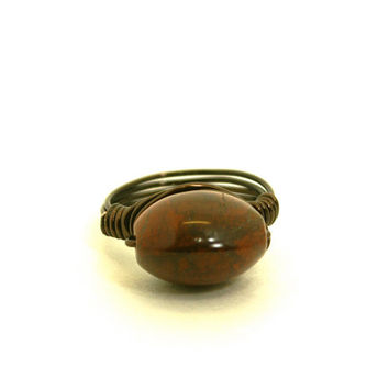 Red and Black Jasper Wire Wrapped Ring Size 7 1/2