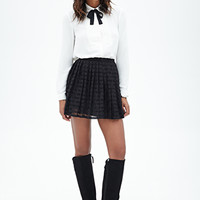 FOREVER 21 Striped Lace Skirt Black