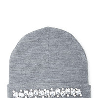 FOREVER 21 Rhinestoned Knit Beanie Grey One