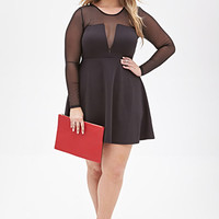 FOREVER 21 PLUS Mesh Panel Fit & Flare Dress