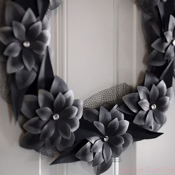 """Darkness in Bloom Halloween Wreath Black Leaves and Paper Flowers Halloween Decor 12"""""""