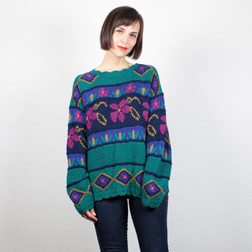 Vintage Chunky Knit Sweater 1980s Teal Green Pink Floral Print 80s Oversized Sweater Jumper Cosby Sweater LL Bean Pullover M Medium L Large