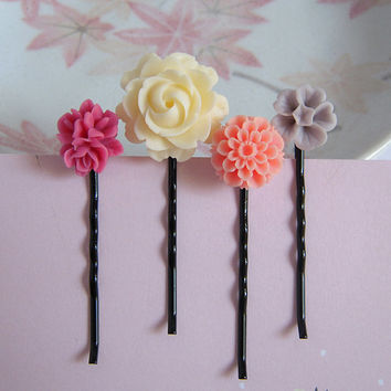 Flower Bobby Pin Set Of Four, Cream Camellia, Pink Bouquet, Coral Peach, Morning Glory