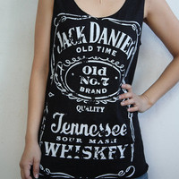 Jack Daniel's whiskey Old No.7  Tank Top tour Women vest  T-Shirt Tunic Screenprint rock ladies indie punk t-shirt singlet top vest