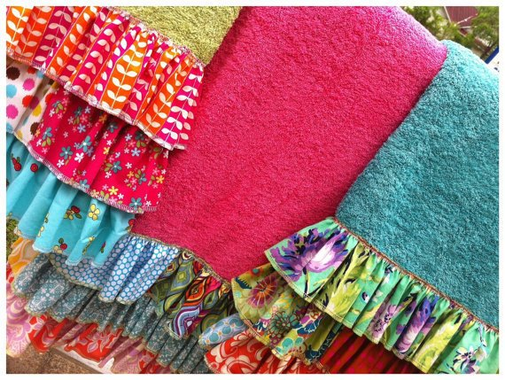 Ruffled Boho Beach Towel, Bath Towel, Pool & Swim Towel
