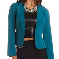 Collarless Long Sleeve Blazer by Charlotte Russe - Shaded Spruce