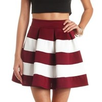 Color Block Striped High-Waisted Skater Skirt