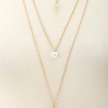 Triple Layered Rosette Necklace by Charlotte Russe - Gold