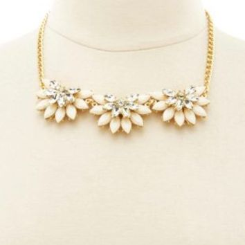 Jeweled Half Flower Collar Necklace by Charlotte Russe - Ivory
