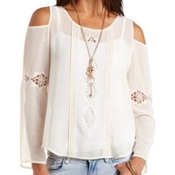 Embroidered Cold Shoulder Top by Charlotte Russe - Ivory