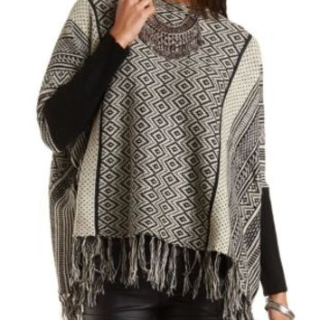 Patterned Fringe Poncho Sweater by Charlotte Russe - Black Combo