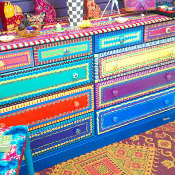 Hand Painted Furniture- Dresser With Ten Drawers