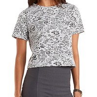 Floral Jacquard Boxy Tee by Charlotte Russe - Ivory Combo