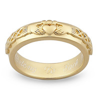 Claddagh Wedding Band in Sterling Silver with 18K Gold Plate (25 Characters)