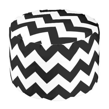 Black And White Chevron Pattern Pouf Seat