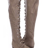 Beige Faux Leather Lace Up Knee High Boots