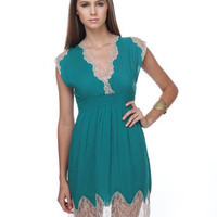Amphitrite Lace Teal Dress