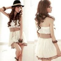 Women Strapless Two-Tiered Lace Pleated Drawstring Belt Chiffon Mini Dress