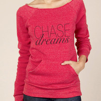 Chase Dreams Eco Fleece Raw Edge Neck Sweatshirt in Red