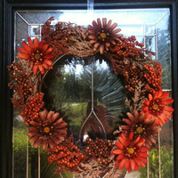 Big Fall Thanksgiving Floral Grape Vine Wreath