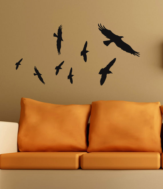 Vinyl wall art Bird decals flying flock of raven primitive crows Halloween Decor