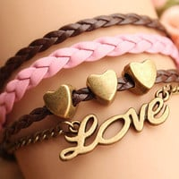 LOVE bracelet,retro bronze little love letters with love heart Pandora bead,alloy bracelet,pink and brown leather braid bracelet---B095