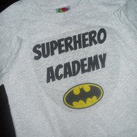 Batman Superhero Academy T-Shirt. Add Your Child's Name.