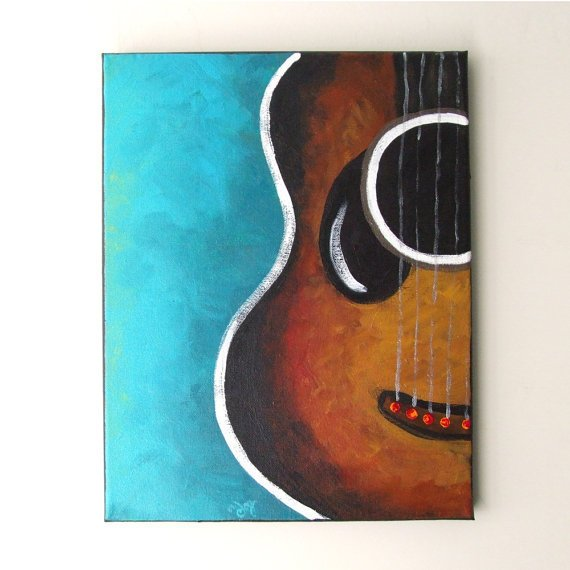Guitar Original Canvas Painting 11x14 From Njoyart On