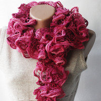 Pink Burgundy Knit Scarf - Magenta .. on Luulla