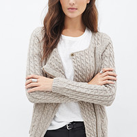 Cable Knit Asymmetrical Cardigan