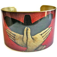 Bird Shadow Puppet cuff bracelet brass Free Shipping