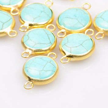 1 Piece Matte Gold Bezel Jewelry Connector with Turquoise Stone, Turquoise Pendant, Jewelry Findings, Bohemian Jewelry