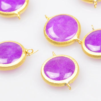 1 Piece Matte Gold Bezel Jewelry Connector with Purple Jade Stone, Round Faceted Jade Stone Pendant, Jewelry Findings