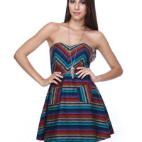 Color Wheel Strapless Rainbow Print Dress