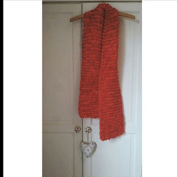 Hand knitted warm winter scarf