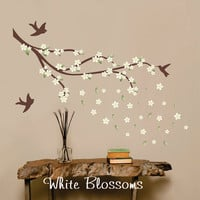 Printed White Cherry Blossoms Wall Decal Branch with birds