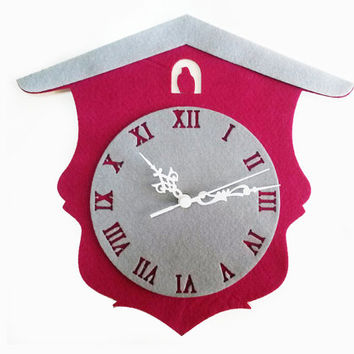 Cuckoo Clock Fabric Wall Decor - Roman numerals Wall Clock - Wood Wall Hanging - Decorative Clock