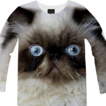 Funny Cat Long Sleeve Shirt created by ErikaKaisersot | Print All Over Me