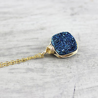 Dark Blue Necklace, Druzy Agate Necklace, Drusy Gemstone Necklace, Midnight Blue Necklace, Gold Fill, Wire Wrapped Pendant, Free Shipping