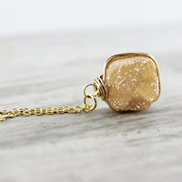 Peach Druzy Necklace, Champagne Necklace, Drusy Gemstone Necklace, Agate Necklace, Gold Fill, Wire Wrapped Pendant, Free Shipping, Square