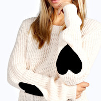 Sara Soft Knit Felt Heart Elbow Patch Jumper