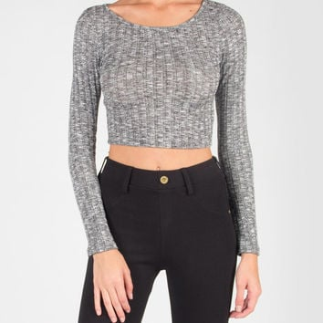 Long Sleeve Ribbed Knit Crop Top - Heather Gray /
