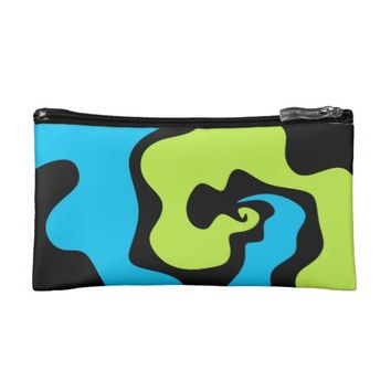 Blue green lime abstract art Cosmetic bag clutch