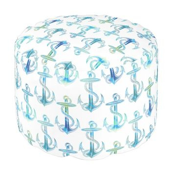 Anchor Blue Green White Pouf Seat