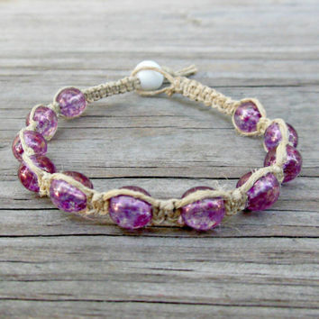 Purple Macrame Spiritual Healing Bracelet For Women Eco-Friendly Spiritual Healing