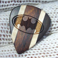 Tribute to Batman - Handmade Laser Engraved Exotic Woods Guitar Pick