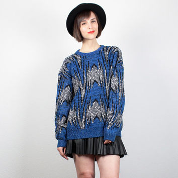 Vintage 1980s Sweater Blue Gray Black New Wave Cosby Sweater Hipster 80s Jumper Chevron Stripe Abstract Print Mod Pullover M L Large XL